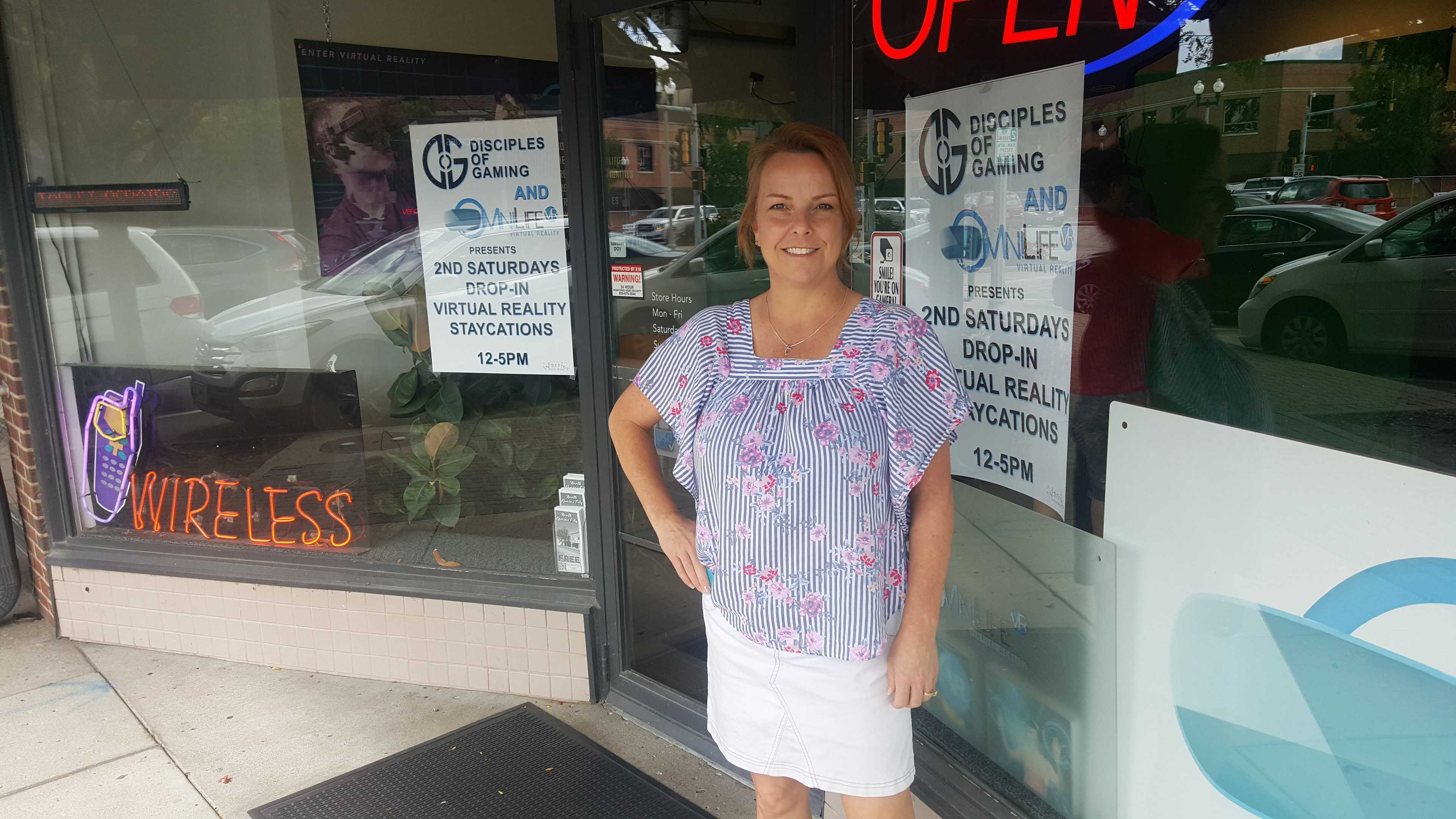 Sherie Stanich stands outside her store
